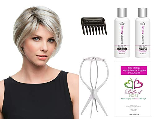 Gabrielle - Synthetic Lace Front Hand tied Single Mono. Wig by Jon Renau,Stand,Comb,Mara Ray 4oz Luxury Shamp/Cond. Kit,19 Page Belle of Hope Wig Care Book-6pc Bundle (FS24/102S12)