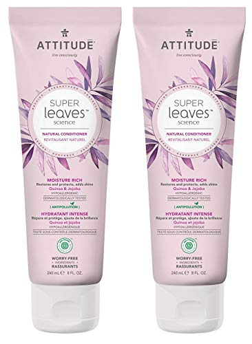 ATTITUDE Super Leaves Moisture Rich Conditioner- Quinoa and Jojoba (Pack of 2) With Indian Cress, Watercress, Jasmine Moringa Seed Extract, 8 fl. oz. each
