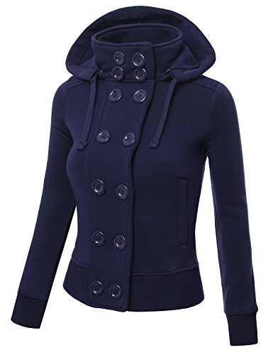 J.TOMSON Womens Double Breasted Hooded Coat Jacket With Pockets NAVY SMALL