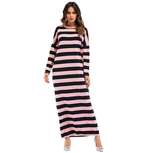 perfectCOCO Women's Muslim Long Sleeve Dress Elastic Waist Striped Islam Jilbab Maxi Dresses with Pockets Red