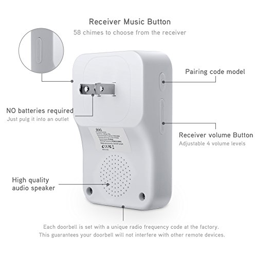 Wireless Doorbell, 1 [Self-Powered] Push Button and 1 Plug-in Receiver, Waterproof Chime Kit with 58 Chimes & 4 Level Volume LED Flash [ White, No Battery Required, 2018 Upgraded ] by aloici (Image #2)