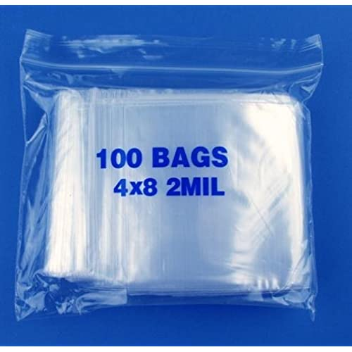 "4"" x 8"", 2 Mil Clear Zip Lock Bags, Case of 1000"