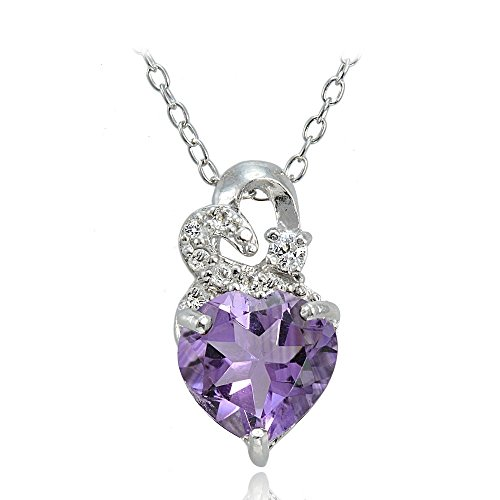 Sterling Silver Amethyst and White Topaz Double Heart Necklace With 18 Inch Chain