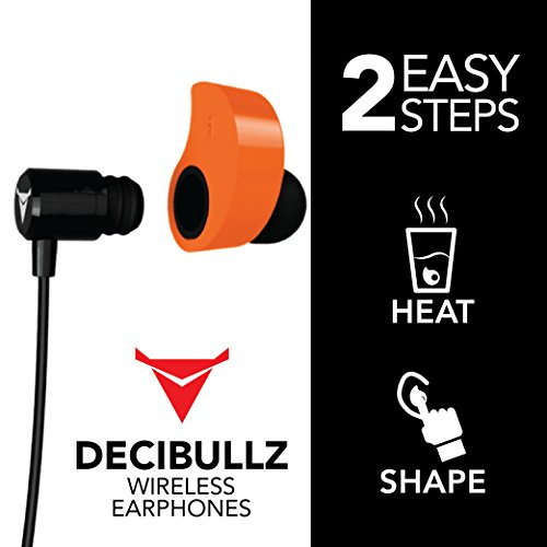 Decibullz - Custom-Fit Bluetooth Wireless Headphones, The First Custom Molded Wireless/Bluetooth Earphones (Orange) by Decibullz (Image #3)