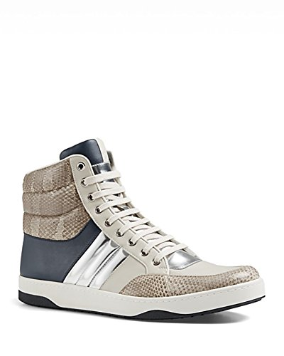 Gucci Men's Snakeskin & Leather Padded High-Top Sneaker, Navy/Beige/Silver 368494 (8.5 US/8 UK) (Shoes Leather Gucci Mens)