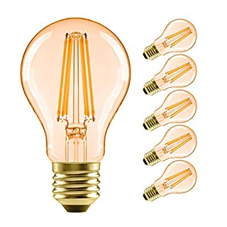 A19 LED Vintage LED Filament Bulb E26 Base,LVWIT Dimmable 7W (60W Equivalent),2500K Warm White 720 Lumens,Omnidirectional, UL-Listed, Pack of 6,Amber Yellowish