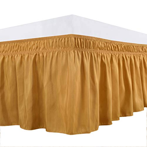 Biscaynebay Wrap Around Bed Skirts Elastic Dust Ruffles, Easy Fit Wrinkle and Fade Resistant Solid Color Luxrious Fabric, Gold Queen 15 Inches Drop