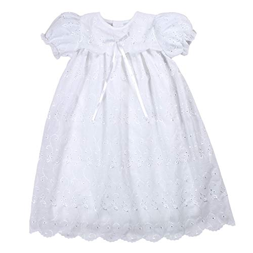 Petit Ami Baby Girls' Hand-Embroidered Eyelet Christening Gown, 9 Months, White (Embroidered Eyelet Gown)