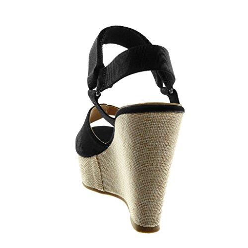 Angkorly Damen Schuhe Sandalen Mule - Bi-Material - Plateauschuhe - Knöchelriemen - Schleife Keilabsatz High Heel 11.5 cm Schwarz