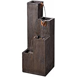 Kenroy Home 51017WDG Indoor/Outdoor Floor Fountain, 34 Inch Height, Width, 12.25 Inch Ext, Wood Grain