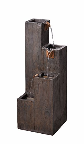 - Kenroy Home 51017WDG Indoor/Outdoor Floor Fountain, 34 Inch Height, 12.25 Inch Width, 12.25 Inch Ext, Wood Grain