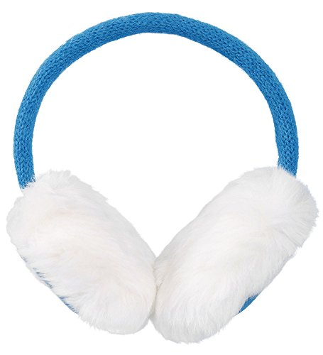 Simplicity Women's Winter Knitted Faux Fur Plush Earmuffs w/ Lined Trim (Blue) by Simplicity (Image #2)
