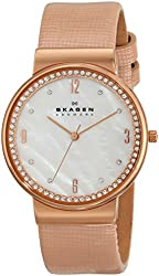 Skagen Women's SKW2163 Ancher Stainless Steel Watch With Pink Leather Band