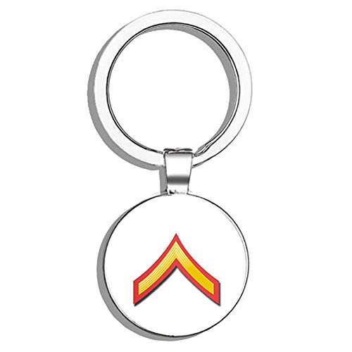 HJ Media USMC US Marine Corps E-2 Private First Class RED/Gold Chevron Stainless Steel Round Metal Key Chain Keychain Ring