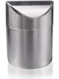 Samyoung Recycling Trash Can Fashion Mini Brushed Stainless Steel Wave Cover Counter Top Trash Can Garbage