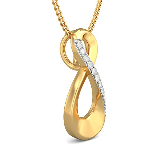 Or jaune 18K 0,08ct tw Round-cut-diamond (IJ   SI) Pendentif