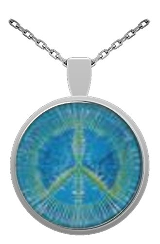Peace Sign Symbol 1 inch Glass Pendant With 24 inch Silver Plated Chain (Peace Sign Symbol Tie - Glasses 1970