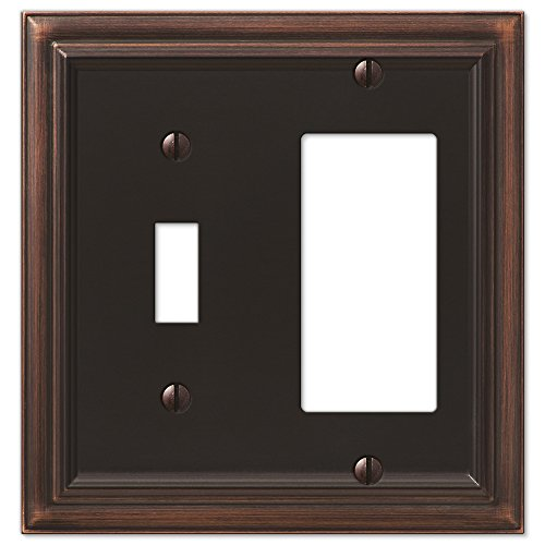 - Amerelle Continental Single Toggle/Single Rocker Cast Metal Wallplate in Aged Bronze