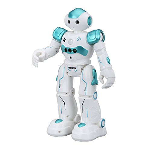 Virhuck R2 Smart Remote-Controlled Robot Toy Gift for Kids with Music Lights, Walking | Singing | Dancing | Gesture Sensor | Obstacle Avoidance | Auto Display, Blue