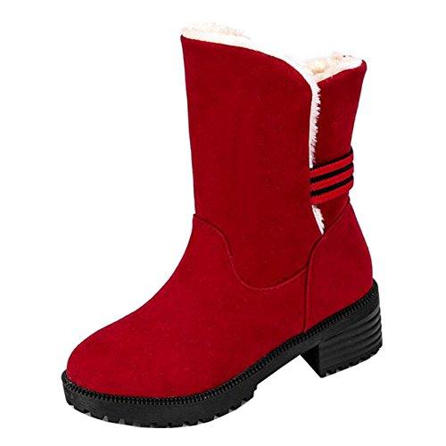 Mashiaoyi Women's Round-Toe Mid-Calf Block Heel Slip-On Snow Boots Red 25oSiWm6C