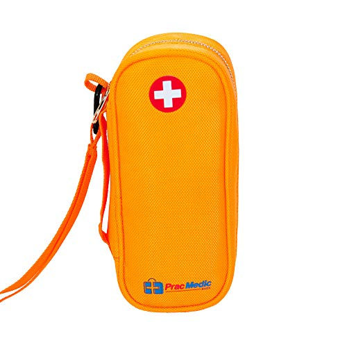 - PracMedic EPIPEN Carrying Case - Holds 2 Epi Pens or Auvi-Q, Asthma Inhaler, Generic Benadryl Small, Nasal Spray, Eye Drops, Medicine, Vials, Syringes, Ice Pack- Sold Empty (Orange)