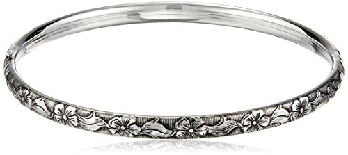 Sterling Silver Polished Guard and Hinge Bangle Bracelet with Floral Pattern and Antique Finish (Sterling Silver Hinge Bracelet)