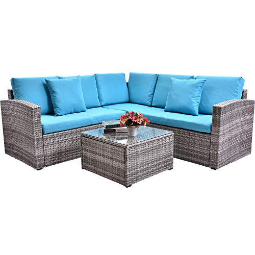 FLIEKS Leisure Zone 4 Piece PE Rattan Sectional Sofa Grey Wicker Patio Furniture Sets with Coffee Table and 2 Pillows, for Outdoor, Indoor, Backyard, Porch, Garden, Pool, Balcony – Blue Cushion