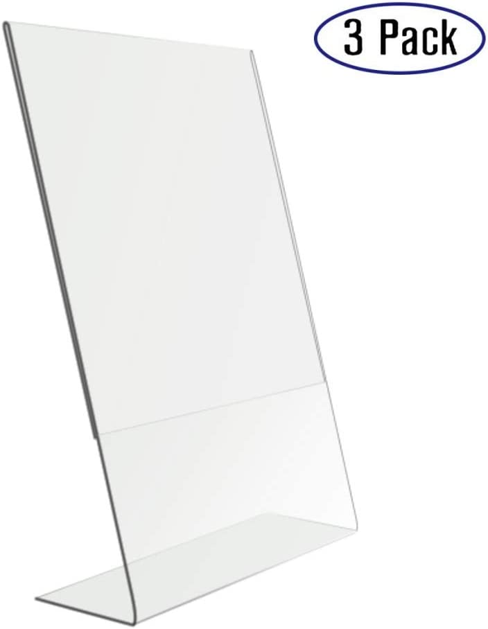 BBKing 8.5x11 Inches Acrylic Sign Slant Back Holder, Plastic Display Stand,Brochure Holder, Table Top Sign Holder for Office, Home, Store, Restaurant,3 Pack