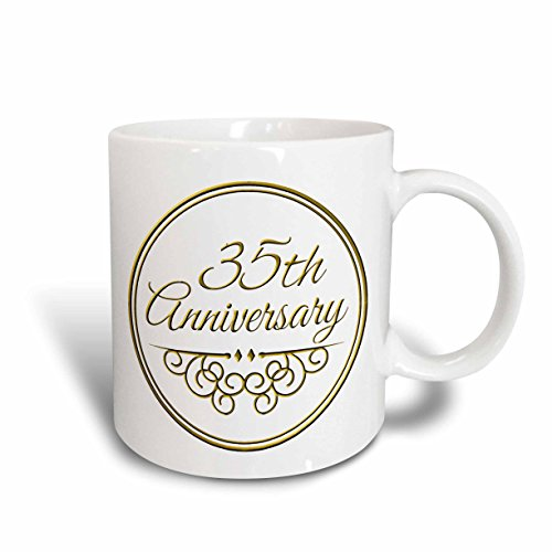 3dRose mug_154477_1 35th Anniversary Gift Gold Text for Celebrating Wedding Anniversaries 35 Years Married Together Ceramic Mug, 11 oz, White