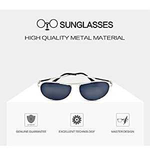 Premium Classic Metal Frame Driving Aviator Sunglasses with Mirrored Polarized Lens for Outdoor Driving Fishing (Silver, black)