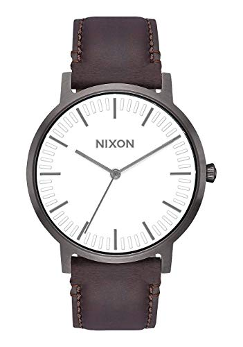 NIXON Porter Leather A1058 - Gunmetal/White/Brown - 50m Water Resistant Men's Analog Classic Watch (40mm Watch Face, 20-18mm Leather Band)