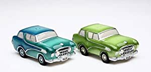 3.5 Inch Road Trip Light Green and Blue Cars Salt and Pepper Shakers