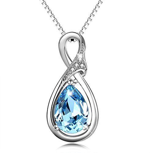 "925 Sterling Silver ""Eternal Love"" Teardrop Pendant Necklace with Aquamarine Crystals from Swarovski"