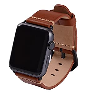 EACHE Genuine Leather Watch Band for Apple Watch For Iwatch Series 1,2,3 with Black Adapter