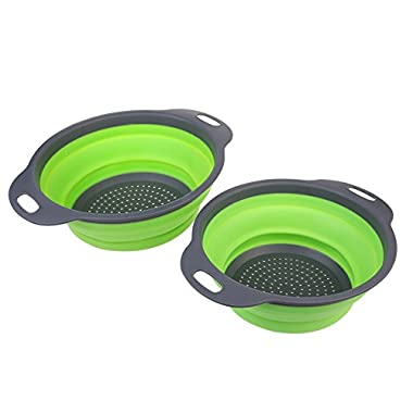 【2 pack】Collapsible Silicone Colander/Strainer Set, Space Saving Kitchen Gadgets, Fruit Strainers,– Size: 3-Quart and 2-Quart by TimeCollect (Green)