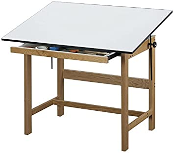Alvin WTB48 Titan Solid Oak Drafting Table Natural Finish 36 inches x 48 inches x 37 inches