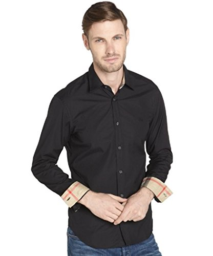 BURBERRY Brit Men's Henry Slim Fit Dress Shirt (Small, - Burberry Black
