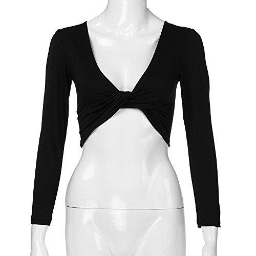 Chemise Tube Chemisier Manches Sexy Longues Shirt V Courtes Sixcup Wrap Crop Profonde Shirt Noir Nuque Blouse T Avant Femmes N ud Tops fqxRza