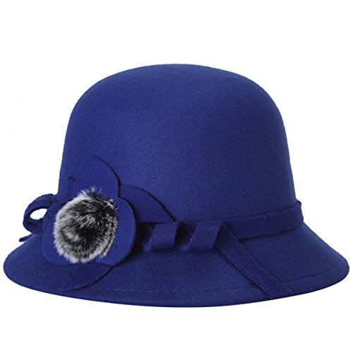 EUBUY Women Vintage Wool Felt Bowler Hat Winter Fedora Hat Floppy Hat Wide Brim Cloche Hat Derby Cap (Brim Cloche)