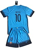 Barcelona 2015-2016 Messi #10 Champions League Youths 3rd Soccer Jersey & Shorts Set 9-10 years old