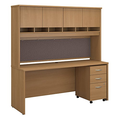 Bush Business Furniture Series C 72W x 24D Office Desk with Hutch and Mobile File Cabinet in Light Oak