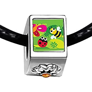 Chicforest Silver Plated Cartoon Theme Photo Topaz Crystal November Birthstone Flower Charm Beads , Plant Geek Easter Fits Pandora Charm