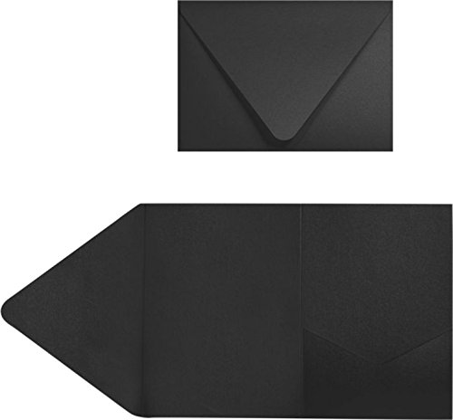 A7 Pocket Invitations (5 x 7) - Midnight Black (150 Qty)   Perfect for Invitation Suites, Weddings, Announcements, Sending Cards, Elegant Events   EX10-LEBA712PF-150 by LUXPaper