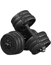Yaheetech Halterset, 20 kg, korte halters, gietijzeren halters met stersluitingen, fitness, gymnastiek, halters voor krachttraining