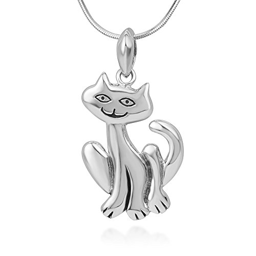 Chuvora 925 Sterling Silver Smiling Cute Cat Happy Kitten Pendant Necklace, 18 inches Chain - Nickel Free