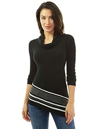 PattyBoutik Women Cowl Neck Asymmetrical Hem Sweater (Black X-Small)