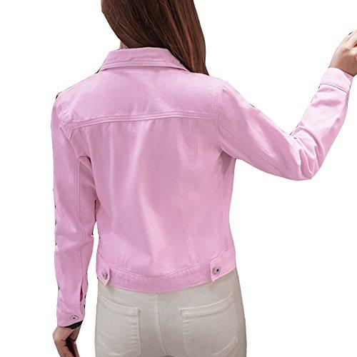 Corta Manica Giacca Pink Cappotto Lunga Donna Denim Jeans w7qaT1