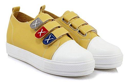 Aisun Donna Casual Comfort Gancio E Passante Punta Tonda Suola Spessa Piattaforma Piatta Sneakers Scarpe Da Skateboard Giallo