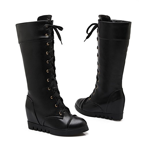 Heels Material Black Mid Women's top High Boots Solid Allhqfashion Round Toe Soft Closed Hwvx6q7E6