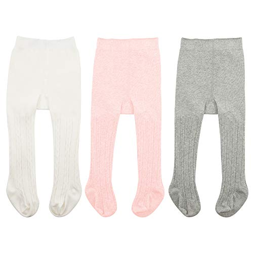Zando Baby Girls Tights Soft Cable Knit Cotton Leggings For Baby Big Girls Toddler Seamless Socks Infant Pants Stockings White & Ballet Pink & Light Grey M/6-12 - Ballet Baby Socks
